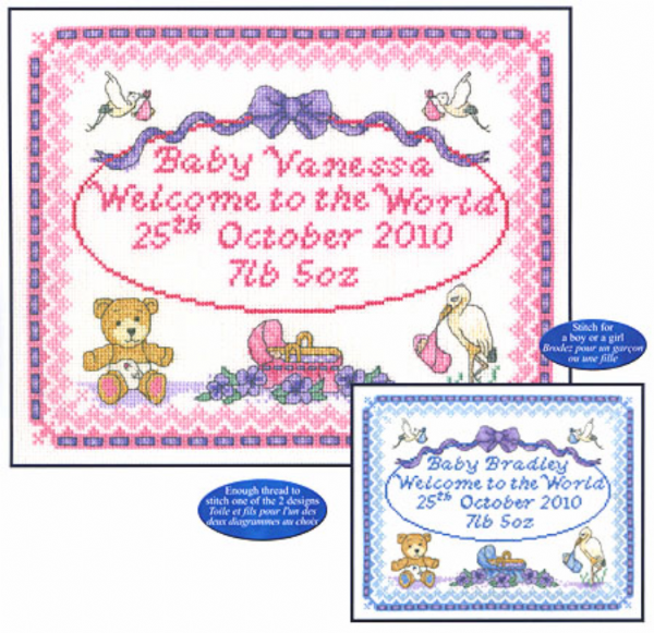 Baby Birth Sampler Cross Stitch Kit